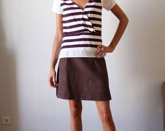 striped short sleeve wrap