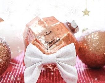 Christmas Glitter - Mini sailor bow headband or clip / fabric bow / hair bow / hair clip