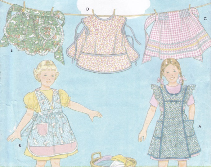 FREE US SHIP Simplicity 8916 Sewing Pattern Girls Art Artist Painting Smock Apron Half Full Uncut Size 3 4 5 6 7 8 Out of Print