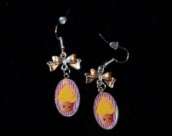 Illustration Kawaii Cupcake earrings