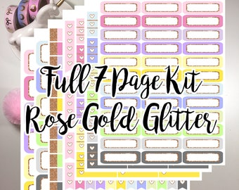 Rose Gold Glitter 7 Page Functional Kit
