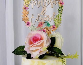 Personalized Cake Topper for Wedding, Wood Cake Topper Printed with Colorful Floral Wreath, Birthday Baby Shower Cake Topper Pop Decor VU002