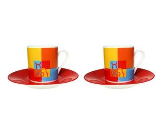 2 Jordi Nogues TORO Demitasse Espresso Cup and Saucer Art Deco Barcelona Spain