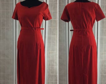 Vintage 1960's Red Velvet Velour Midi Dress Sweetheart Neckline Belt Women's S/M
