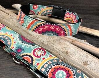 Kaleidoscope Dog Collar, bright dog collar, flower dog collar, floral dog collar, boho dog collar, dog collar for girls, girl dog collar