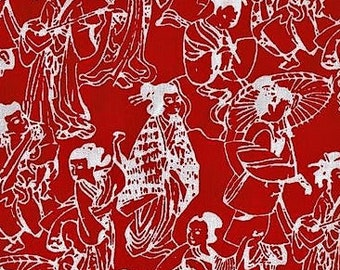 Asian Collection 2010; Alfred Shaheen for Free Spirit; Red; 1/2 yard woven cotton fabric