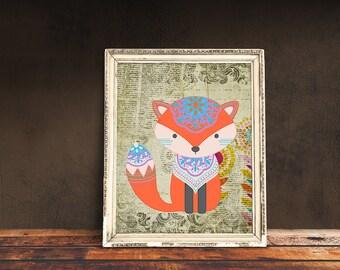 Boho Fox   Bohemian Nursery, Tribal Nursery, Tribal Baby Room, Immediate Download, Printable Poster   Bohemian Animal, Baby Animals