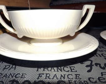 Vintage (c.1980s) RARE! Royal Creamware Recamier orphan saucer for cream soup (NO cup).
