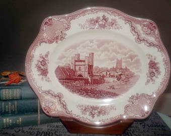 Vintage (c.1930s) Johnson Brothers Old Britain Castles pink transferware vegetable | meat platter. Canterbury Castle 1794.