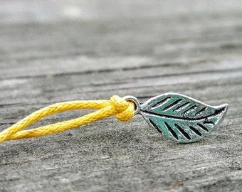 Leaf, Nature Jewelry, Nature Bracelet, Leaf Bracelet, Nature Baby Shower Favor, Nature Gift, Leaf Wish Bracelet, Leaf Anklet, Nature Gift