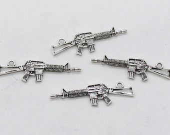 5 Pcs Rifles Gun Charms Antique Silver Tone 2 Sided 45x13mm - YD0445