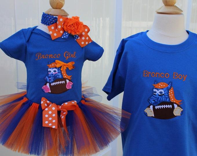 Denver Broncos Sibling outfits, Denver Broncos boys shirt,Girls Denver Broncos bodysuit or shirt,Broncos tutu, Orange and blue headband