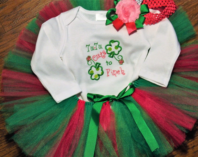 Featured listing image: Girl St. Patrick's Day outfit,Baby girl first St. Patrick's Day,1st St. Patrick's,4 leaf clover bodysuit,Green tutu,Pink tutu,Headband