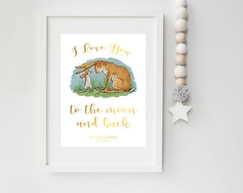 I Love You To The Moon And Back, Real Foil Print, Guess How Much I Love You Print, Nursery Decor, Baby Gift