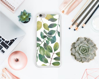 Iphone 7 cover green leaves iphone accessory floral iphone 7 plus minimalistic skin Iphone X case protective iphone case 6 plus case OT13