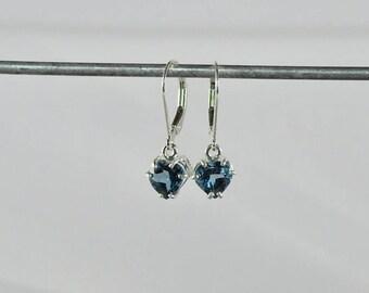 London Blue Topaz 2.90 TCW 7 MM Heart Cut Sterling Silver Leverback Earrings