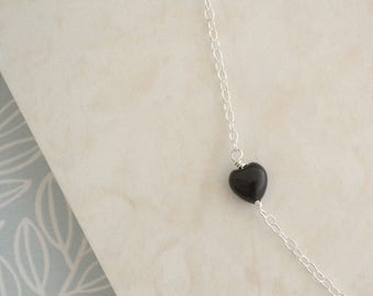 Black Onyx Heart Necklace, Sterling Silver Wire Wrapped Black Heart Shaped Gemstone Chain