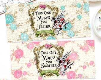 ALICE IN WONDERLAND Labels, Makes You Taller Label, Makes You Smaller Label, Beverage Dispenser Labels,Alice in Wonderland Decorations,Alice