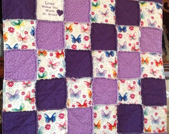 Purple Baby Quilt, Baby Rag Quilt, Handmade Quilt, Butterfly, Embroidery Blanket, Baby Girl Quilt, Baby Quilt For Sale, Bedding, Crib Quilt