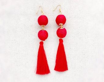 Tassel earrings, red tassel earrings, red earrings, long red earrings, long tassel earrings, red tassels, tassel earrings red, long earrings