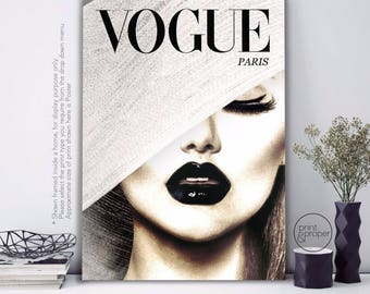 VOGUE Cover Retro Beauty Lips - Art Print Poster Canvas
