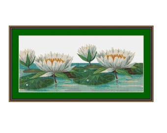 White Waterlilies Floral Counted Cross Stitch Pattern / Chart, Instant Digital Download  (AP294)