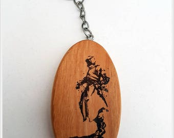Assassins creed wooden keychain, cherry wood keychain, Ezio auditore, Assasins keychain, gift idea, custom made, laser burning.