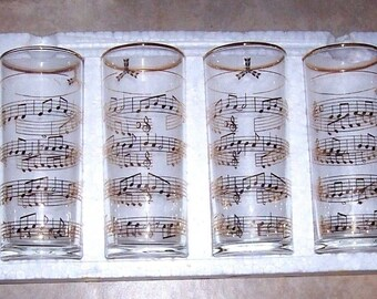 4 pc Vintage Glasses Tumblers Musical Notes golden RARE New