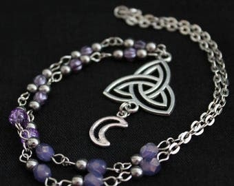 Chain necklace with purple beads, silver metal beads Hematite and Moon and triquetra pendant