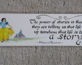 The Power of Stories - Watercolor and Calligraphy Frederick Buechner Quote Bookmark
