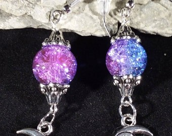 Purple and blue marbled glass bead earrings