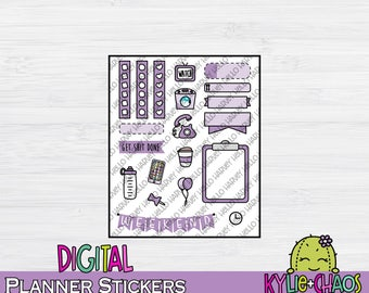 Purple Monochrome Digital Planner Stickers for GoodNotes Planners