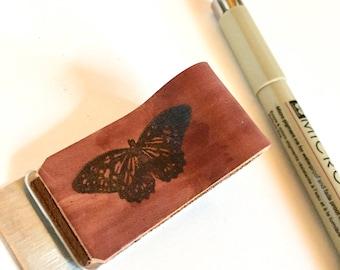 CLOSEOUT SALE! Leather Pen Loop, Brown Butterfly, Journal Pen Loop, Pen Holder, Metal Clip, Bullet Journal, Traveler's Notebook, Stamped