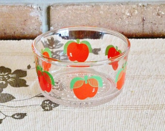1970s small glass sweets, nuts, dips, relish dish, apple motif, retro kitchen gift idea