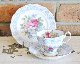 Royal Albert vintage 1940s 'Fragrance' fine bone china floral, chintz trio, reg number 839038, high tea, wedding, engagement gift