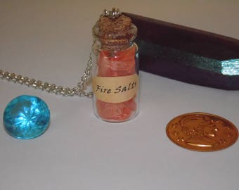 Fire Salts Bottle Charm Necklace