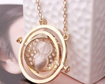 Harry Potter Hourglass Necklace / Time Turner Hermione Granger Ron Weasley / Gifts for Her / Bookish Gifts