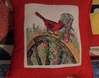 Cardinal Cross Stitch Pillow