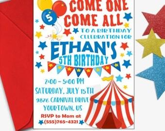 Circus Birthday Invitation | Carnival Birthday Invitation | Circus Invitation | Carnival Invitation | Digital Invitation | Design 17048