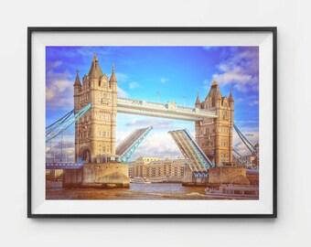 London Photography, London Bridge, Tower Bridge, London Print, Travel Photography, London Large Art, River Thames, London Skyline, Wall Art