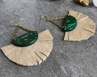 Fan fringe earrings, Tassel earrings, Bohemian earrings, Green earrings, Summer jewelry, Gift for her