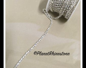 5-yard / Simple Single line SS12 / Silver / Rhinestone Trim Chain #S02