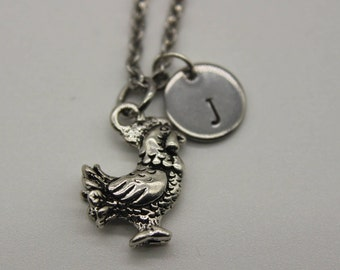 Chicken Necklace Silver Chicken Charm Necklace Chicken Charm Chicken Jewelry Chicken Gift Personalized Necklace Initial Charm
