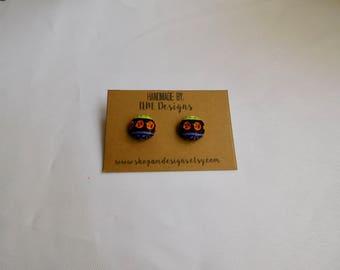 Button Earrings, Fabric Earrings, Earrings, Handmade Earrings