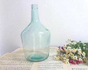 French Vintage demijohn / damme jeanne bottle /  French green glass demijohn carboy wine bottle / Cottage chic / Vintage old glassware