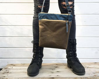 DENIM and TOFFEE waxed canvas crossbody bag, Unisex vegan day bag, Minimal Bag