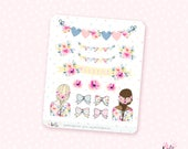 Summer Garden deco - 15 watercolor decorative planner stickers