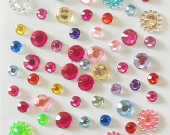 Lots of Crystal Face gems,2 Pack- 150 dots,Colorful Mermaid face jewels Bindi,Beauty body art accessories,Eye makeup,Blue/Red/Pink Bindi dot