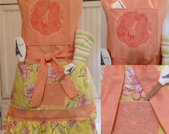 Vintage style full apron square bodice Orange women's full apron yellow pink orange flower ruffle trapunto lily quilted embroidered bodice