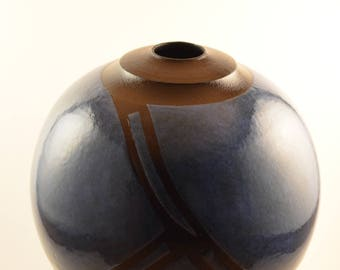 Cobalt Blue Raku Bottle